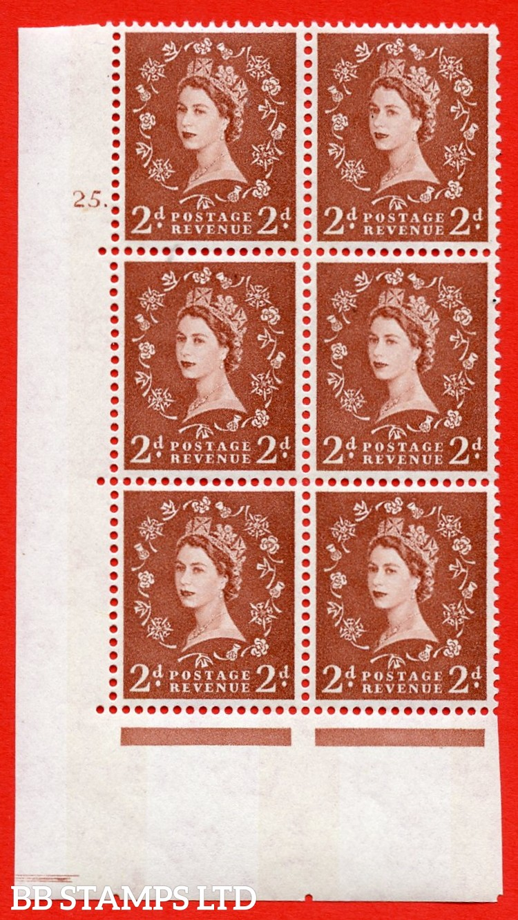 "SG.613a. S47. 2d  light red brown. A superb UNMOUNTED MINT "" cylinder 25 dot "" control block of 6 with perf type A (E/I). Blue Phosphor White paper"