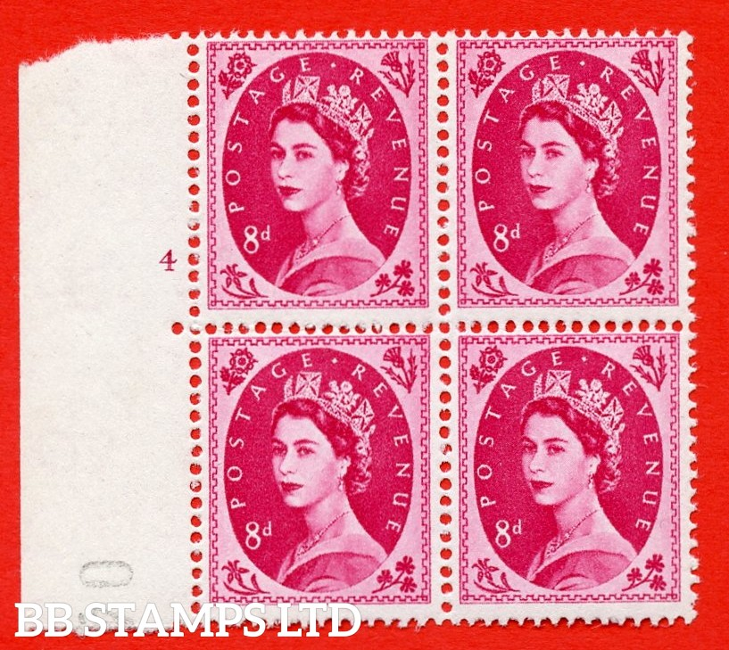 SG. 581. S122a. 8d Magenta. A fine UNMOUNTED MINT example. Left marginal block of 4. From cylinder 4 no dot. White paper. With a diadem flaw ERROR. R.18/2 variety.