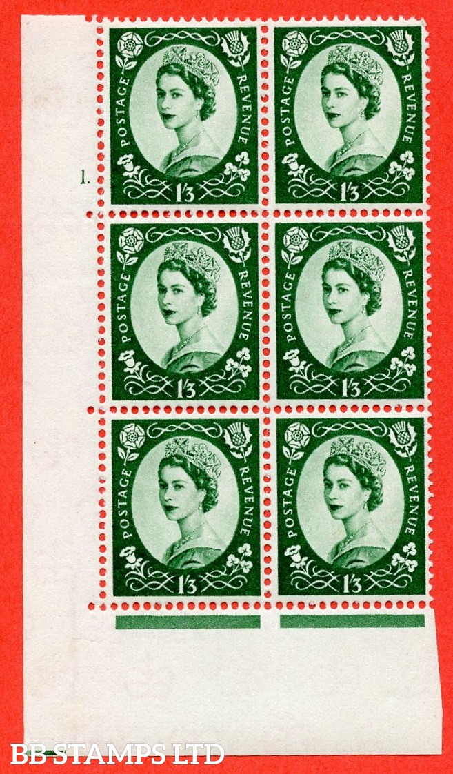 "SG. 585 S143. 1/3d Green  A superb UNMOUNTED MINT "" cylinder 1 dot "" control block of 6 with perf type A (E/I)."