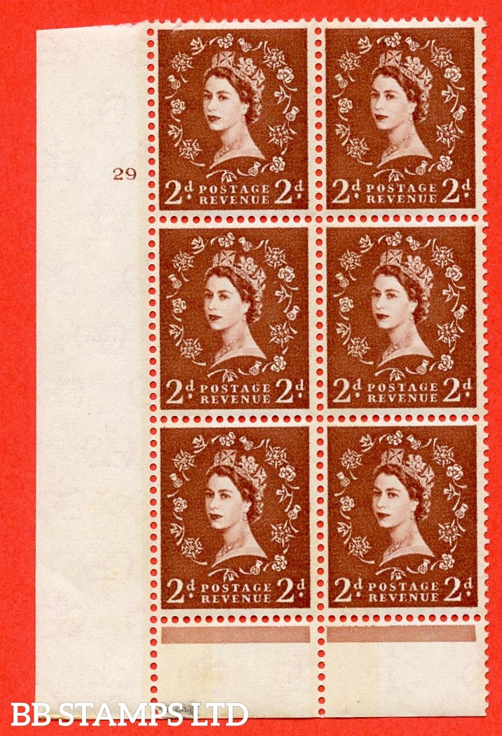 "SG.613a. S46d. 2d Light red brown. Photo. A superb UNMOUNTED MINT "" cylinder 29 no dot "" control block of 6 with perf type B (I/P). Blue Phosphor Cream paper."