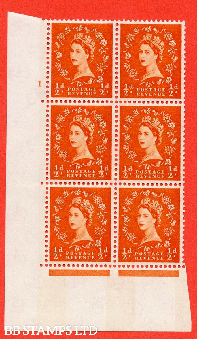 "SG.610. S10. ½d Orange red. A fine mounted mint "" cylinder 1 no dot "" control block of 6 with perf type A (E/I). Blue Phosphor Cream paper."