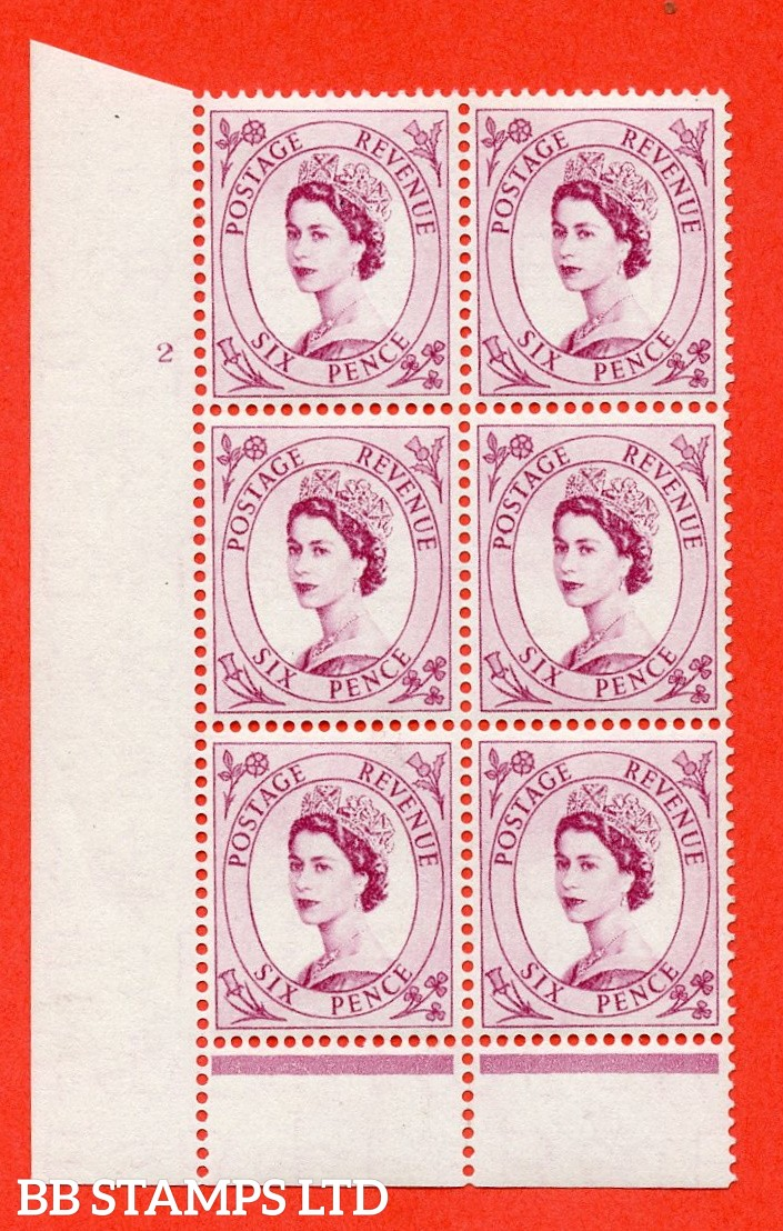 "SG. 548a. S106. 6d. Deep Claret. A superb UNMOUNTED MINT "" cylinder 2 no dot "" control block of 6 with perf type B I/P."