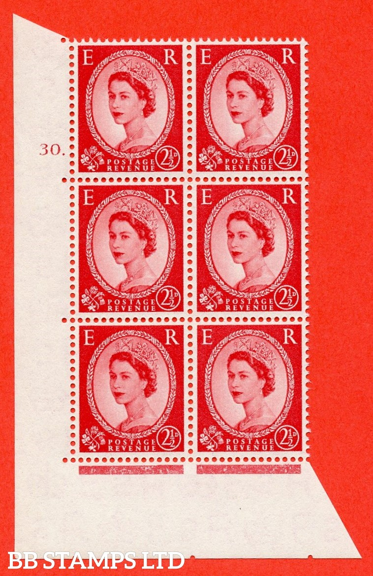 "SG. 544. S52. 2½d. Carmine - Red. A superb UNMOUNTED MINT "" cylinder 30 dot "" control block of 6 with perf type A E/I."