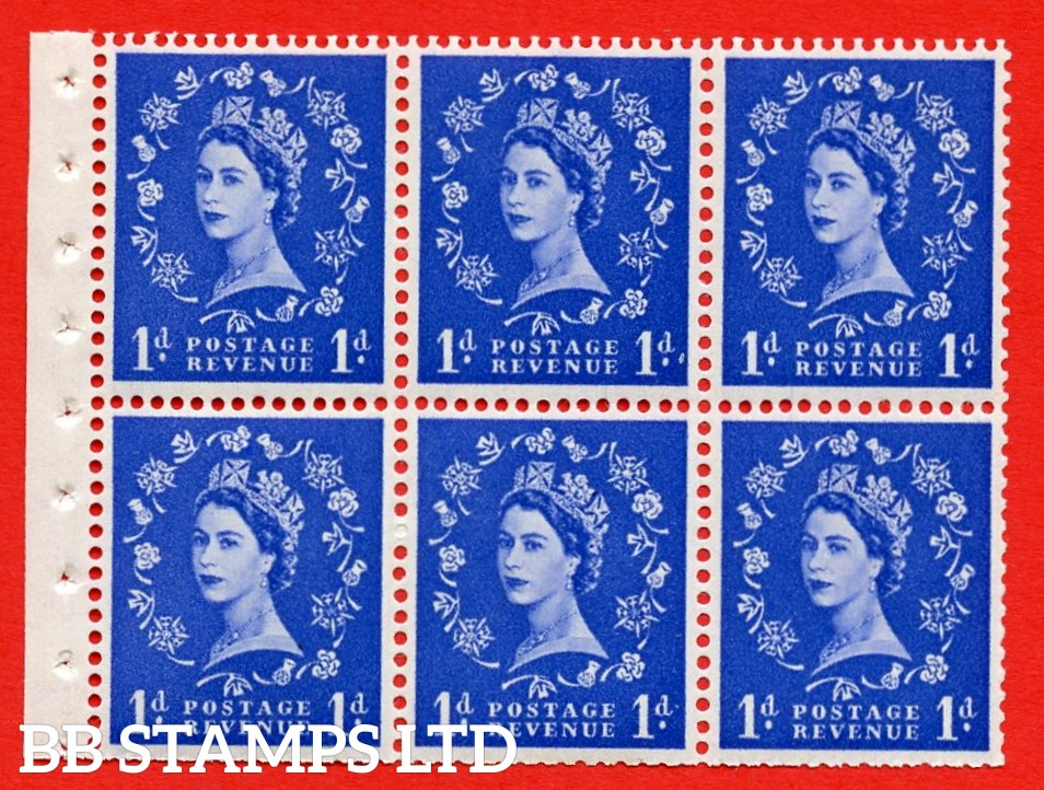 SG. 516L. SB20. 1d ultramarine. A fine UNMOUNTED MINT example. Complete Booklet pane of 6. Perf Type IS. Trimmed Perfs.