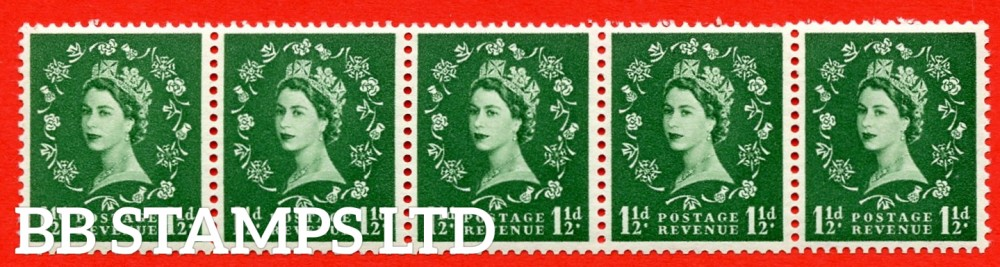SG. 542a. S26R. 1½d. Green. A superb MOUNTED MINT example. coil strip of 5. WATERMARK sideways left. With a Dot over rose. ERROR. Roll 10 variety.