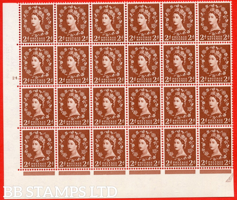 SG. 573. S40d. 2d light red brown . A superb UNMOUNTED MINT example. Bolck of 24 from cylinder 24 dot. Cream paper. With a Tadpole retouch ERROR. R.17/6