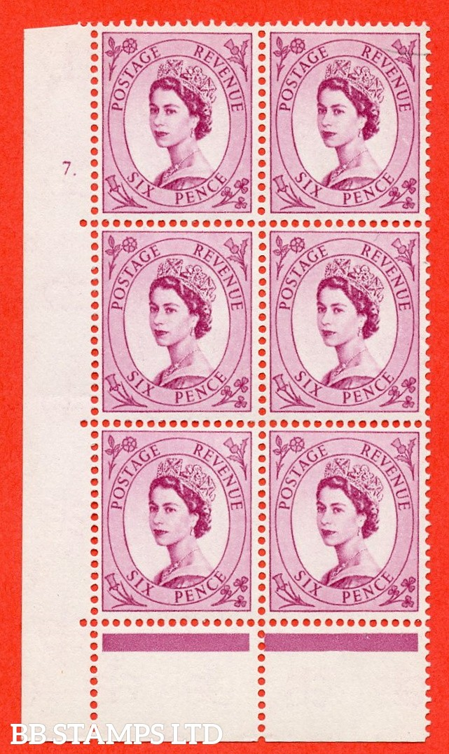 "SG. 579 S107. 6d Deep claret  A fine mounted mint "" cylinder 7 dot "" control block of 6 with perf type A (E/P).CREAM paper."