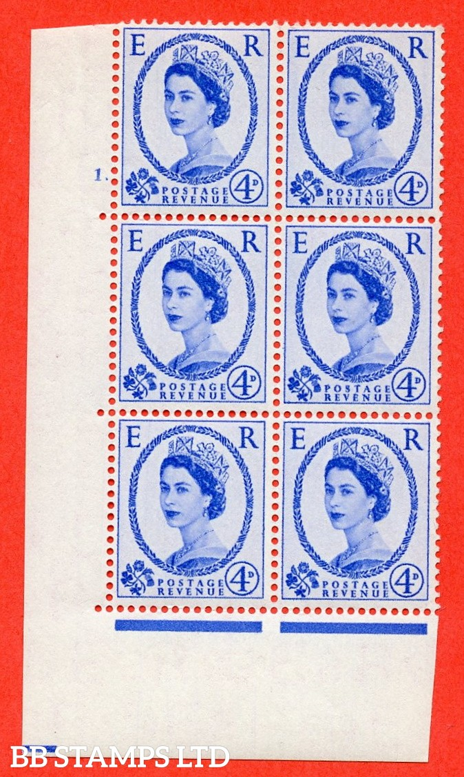 "SG. 546. S82. 4d. Ultramarine. A superb UNMOUNTED MINT "" cylinder 1 dot "" control block of 6 with perf type A E/I."