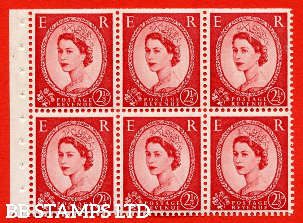 SG. 519 b. SB80. 2½d carmine - red. A fine UNMOUNTED MINT. Complete booklet pane of 6. Perf type (Ieb) with Trimmed PERFS.