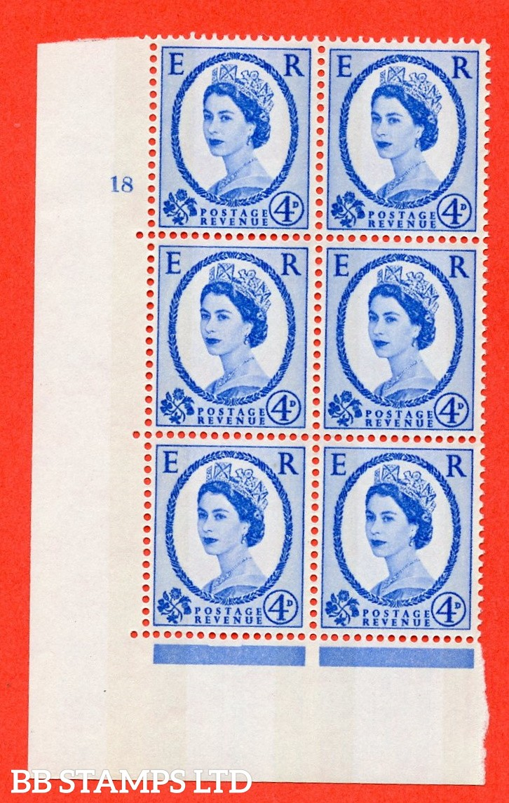 "SG.616a. S92. 4d Deep Ultramarine. A fine mounted mint "" cylinder 18 no dot "" control block of 6 with perf type A (E/I). violet Phosphor 9½mm Band."