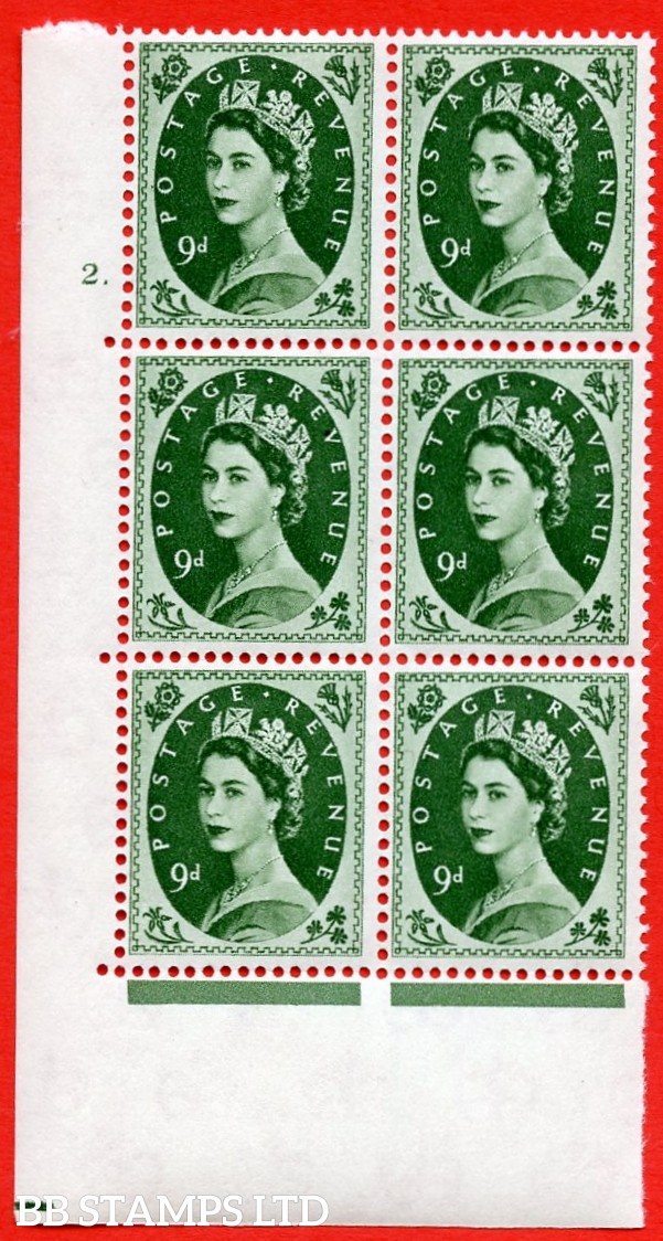 """SG S126. 9d Bronze Green  A superb UNMOUNTED MINT """" cylinder 2 dot """" control block of 6 with perf type A (E/I)."""