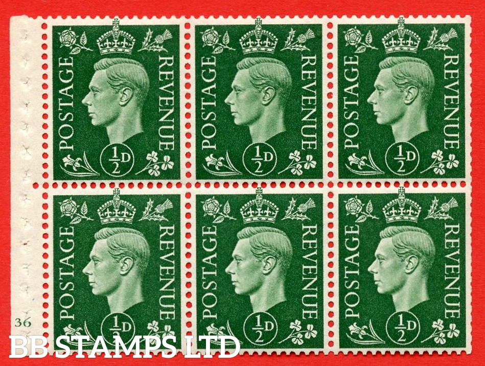 SG. QB1 Perf Type B4(E). ½d Green x 6 Pane, UNMOUNTED MINT Watermark Upright. Cylinder Pane E36 no dot ( SG. 462b ) Perf Type B4(E). Trimmed Perfs.