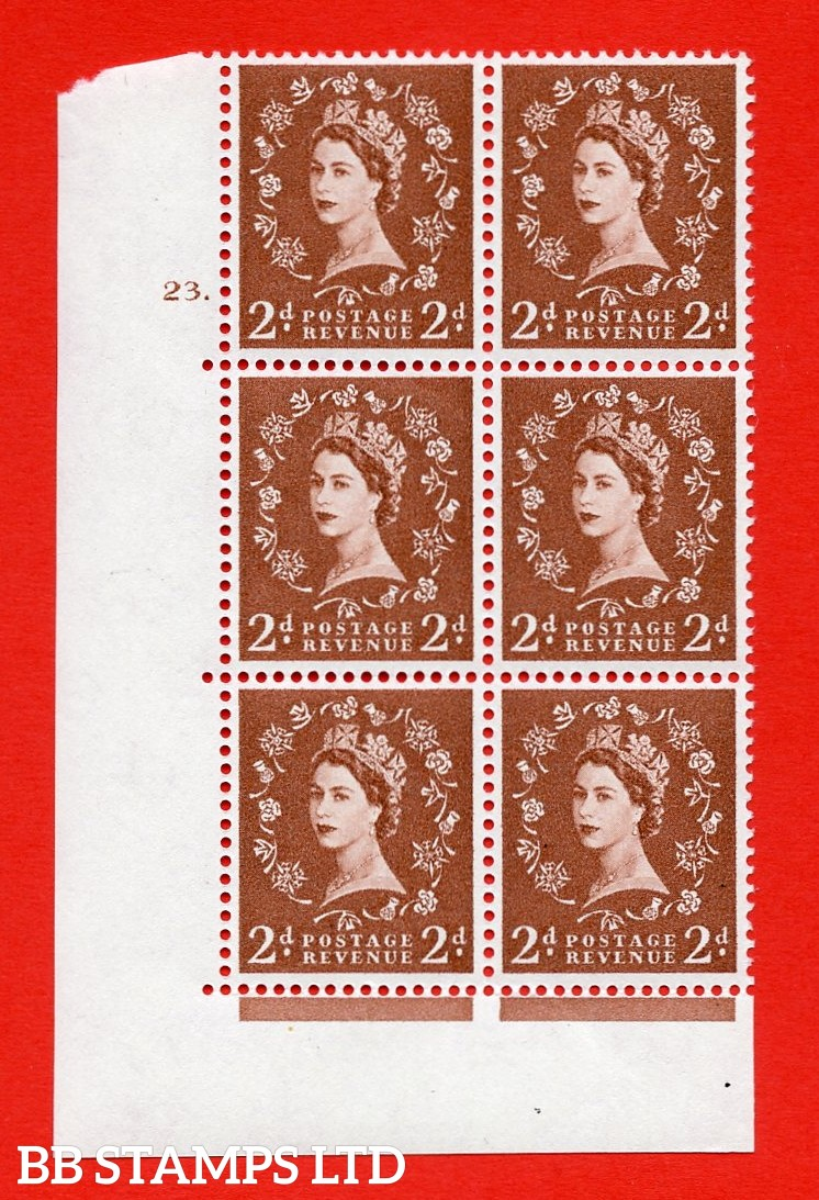 "SG. 573. S41. 2d Red - Brown. A superb UNMOUNTED MINT "" cylinder 23 dot "" control block of 6 with perf type A E/I. WHITE paper."