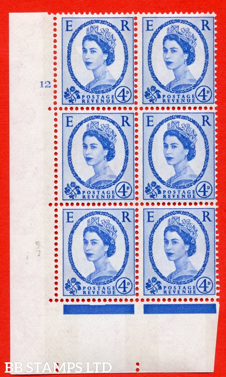 "SG.616a. S90. 4d Deep Ultramarine. A superb UNMOUNTED MINT "" cylinder 12 no dot "" control block of 6 with perf type A (E/I). Blue Phosphor White paper"