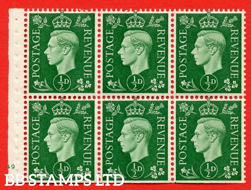 SG. QB1 Perf Type B3(I). ½d Green x 6 Pane, MOUNTED MINT Watermark Upright. Cylinder Pane E49 no dot ( SG. 462b ) Perf Type B3(I). Trimmed Perfs.