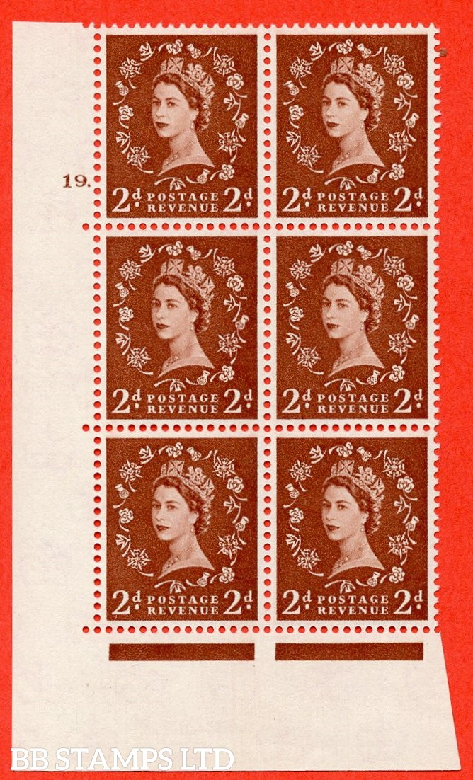 "SG. 573. S40. 2d light red brown . A superb UNMOUNTED MINT "" cylinder 19 dot "" control block of 6 with perf type A E/I. CREAM paper."
