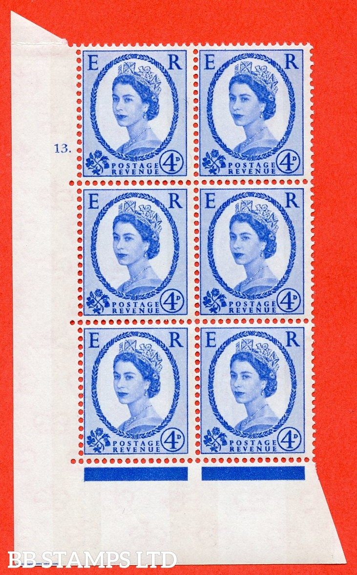 "SG.616a. S90. 4d Deep Ultramarine. A superb UNMOUNTED MINT "" cylinder 13 dot "" control block of 6 with perf type A (E/I). Blue Phosphor White paper."
