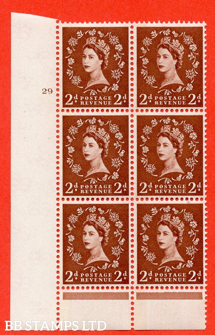"SG.613. S45. 2d Light red brown. A superb UNMOUNTED MINT "" cylinder 29 no dot "" control block of 6 with perf type B (I/P). Blue Phosphor Cream paper."