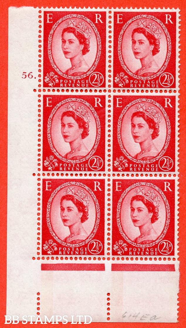 """SG.614a. S65. 2½d Carmine red. LB Photo. A superb UNMOUNTED MINT """" cylinder 56 dot """" control block of 6 with perf type A (E/I). Blue Phosphor White paper"""