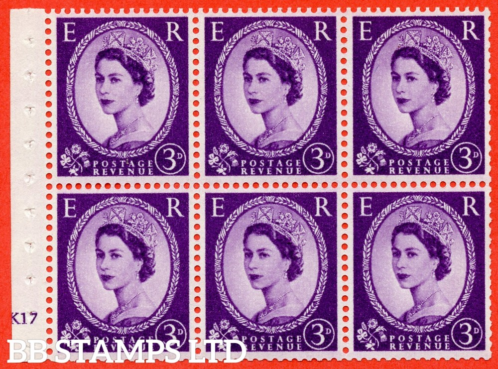 "SG. 575. SB92. 3d Deep Lilac. A fine UNMOUNTED MINT cylinder "" K17 no dot "" booklet pane of 6. Perf type (I) with TRIMMED PERFS. Smooth edge. Cream paper."