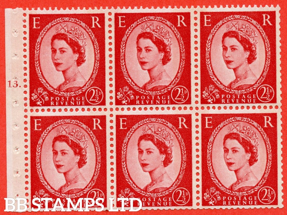 "SG. 614. SB86. 2½d Carmine Red Type II. A fine mounted mint cylinder "" J13 T dot "" booklet pane of 6. Perf type (Ieb) with TRIMMED PERFS. Smooth edge."