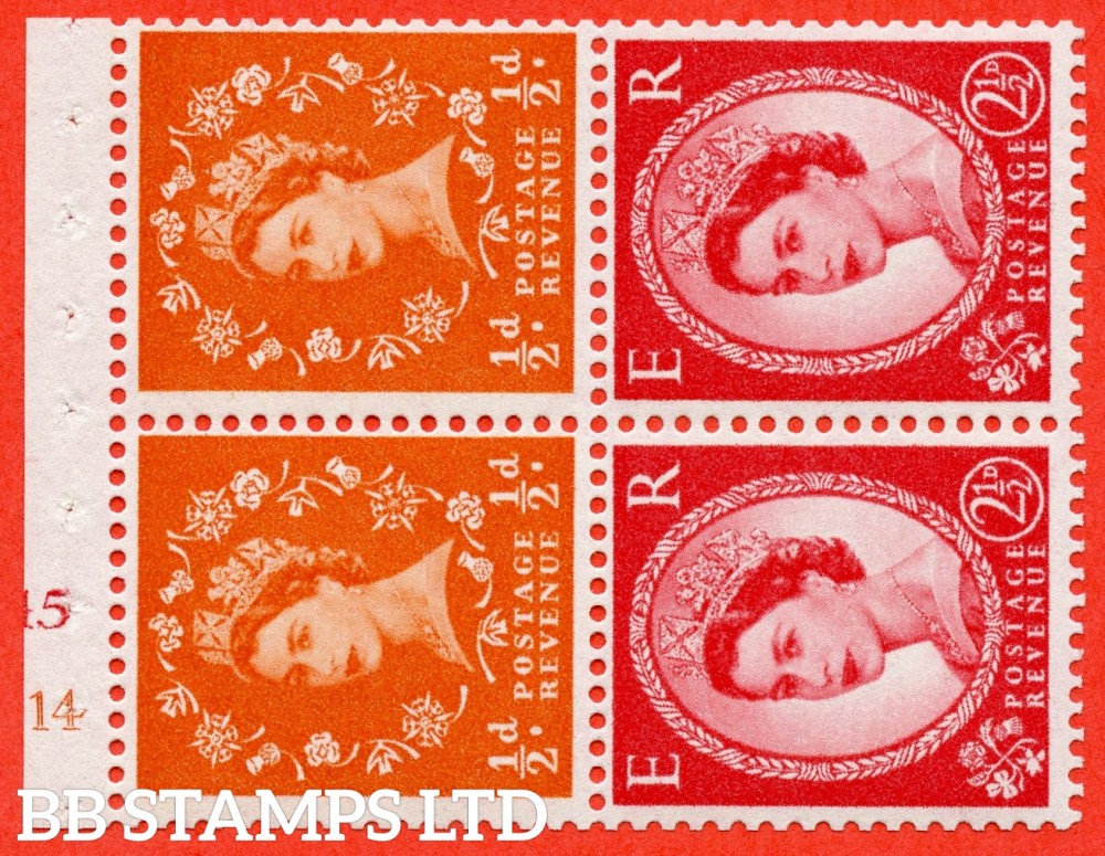 "SG. 570 / 574. SB13a. ½d Orange Red & 2½d Carmine Red Type II. A fine UNMOUNTED MINT cylinder "" E14 (½d) J15 (2½d) no dot "" booklet pane of 4. Perf type (I) with GOOD PERFS. Smooth edge. White paper."