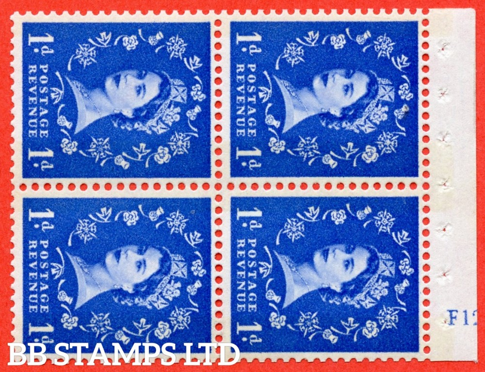 "SG. 611. SB43. 1d Ultramarine. A fine mounted mint cylinder "" F12 no dot "" booklet pane of 4. Perf type (I) with TRIMMEDD PERFS. Smooth edge. Cream Paper."