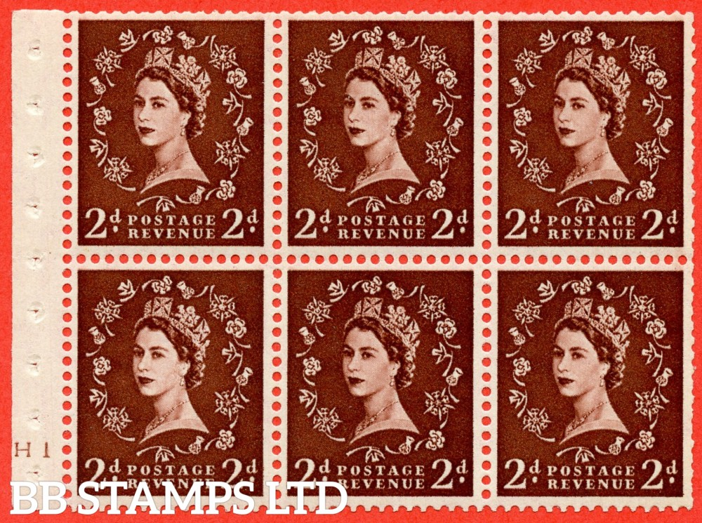 "SG. 518. SB76. 2d red - brown. A fine mounted mint cylinder "" H1 no dot "" booklet pane of 6. Perf type (I) with TRIMMED PERFS. Smooth edge."
