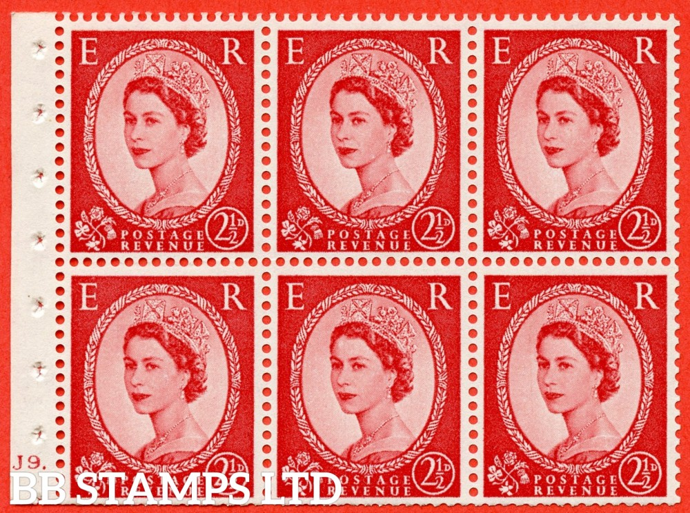 "SG. 574. SB82. 2½d Carmine Red Type II. A fine UNMOUNTED MINT cylinder "" J9 dot "" booklet pane of 6. Perf type (Ieb) with TRIMMED PERFS. Smooth edge. Cream paper."