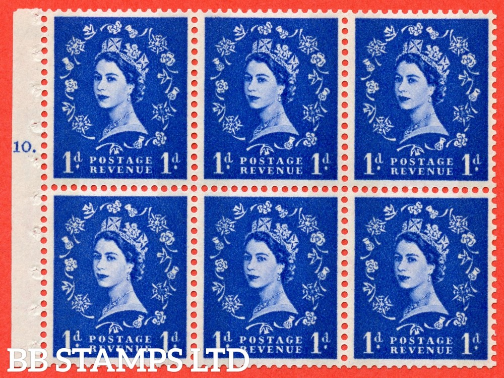 "SG. 611. SB54. 1d Ultramarine. A fine mounted mint cylinder "" F10 T no dot "" booklet pane of 6. Perf type (Iet) with GOOD PERFS. Smooth edge."