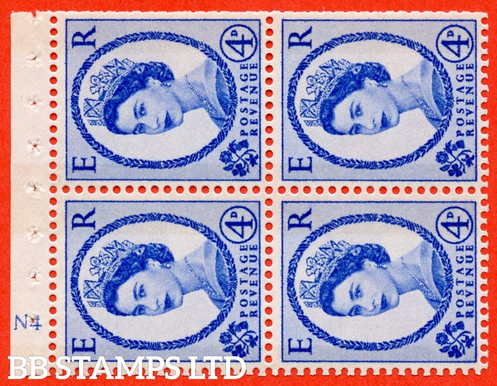 "SG. 616a. SB110a. 4d Deep Ultramarine. A fine UNMOUNTED MINT cylinder "" N4 ( Wmk right ) no dot "" booklet pane of 4. Perf type (I) with TRIMMED PERFS. Smooth edge. White Paper."