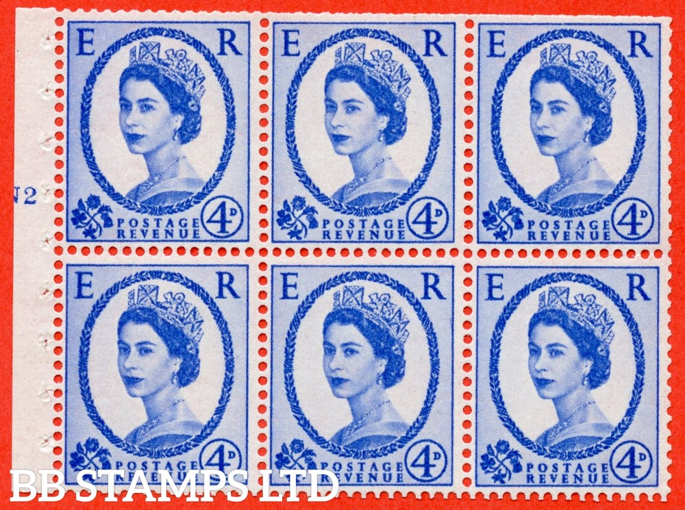 "SG. 576a. SB105f. 4d Deep Ultramarine. A fine mounted mint cylinder "" N2 T no dot "" booklet pane of 6. Perf type (I) with TRIMMED PERFS. Smooth edge. White paper. With listed variety "" Y Flaw "" Row 2/2."