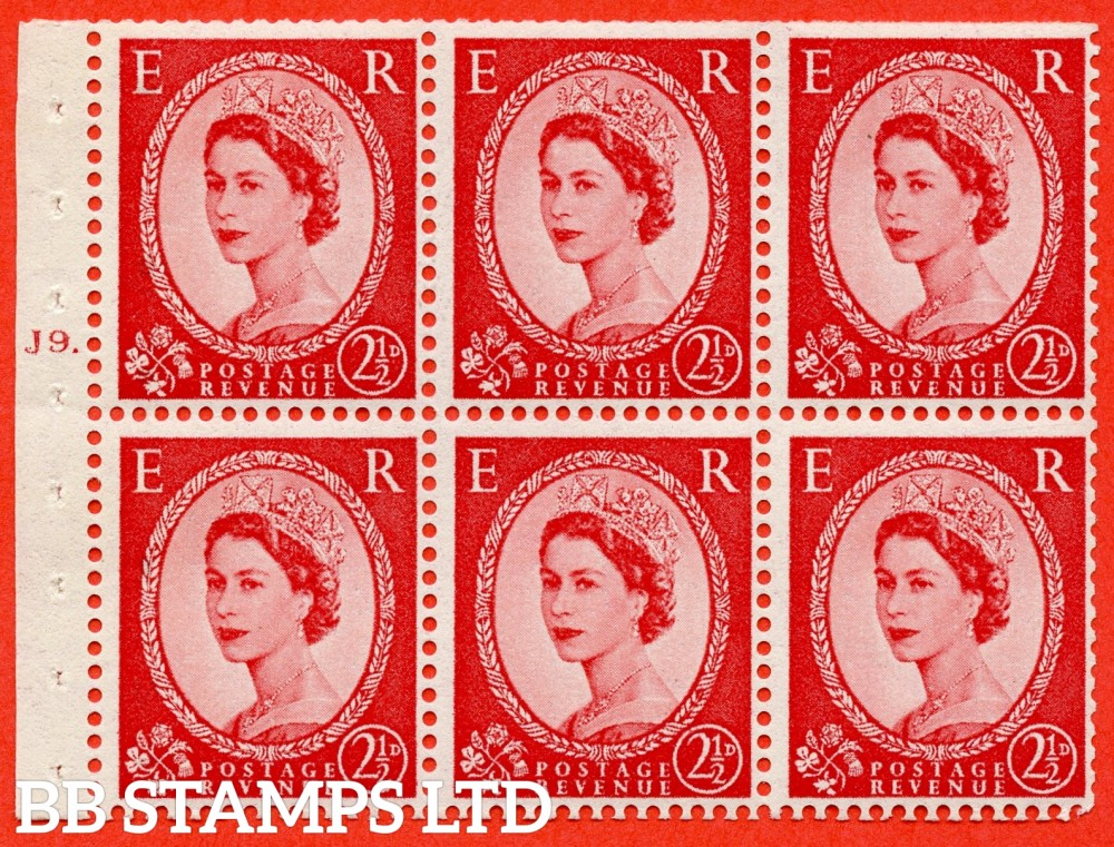 "SG. 544b. SB81. 2½d carmine - red. A fine UNMOUNTED MINT "" J9 T dot "" booklet pane of 6. Perf type (Iet) with TRIMMED PERFS. Smooth edge."