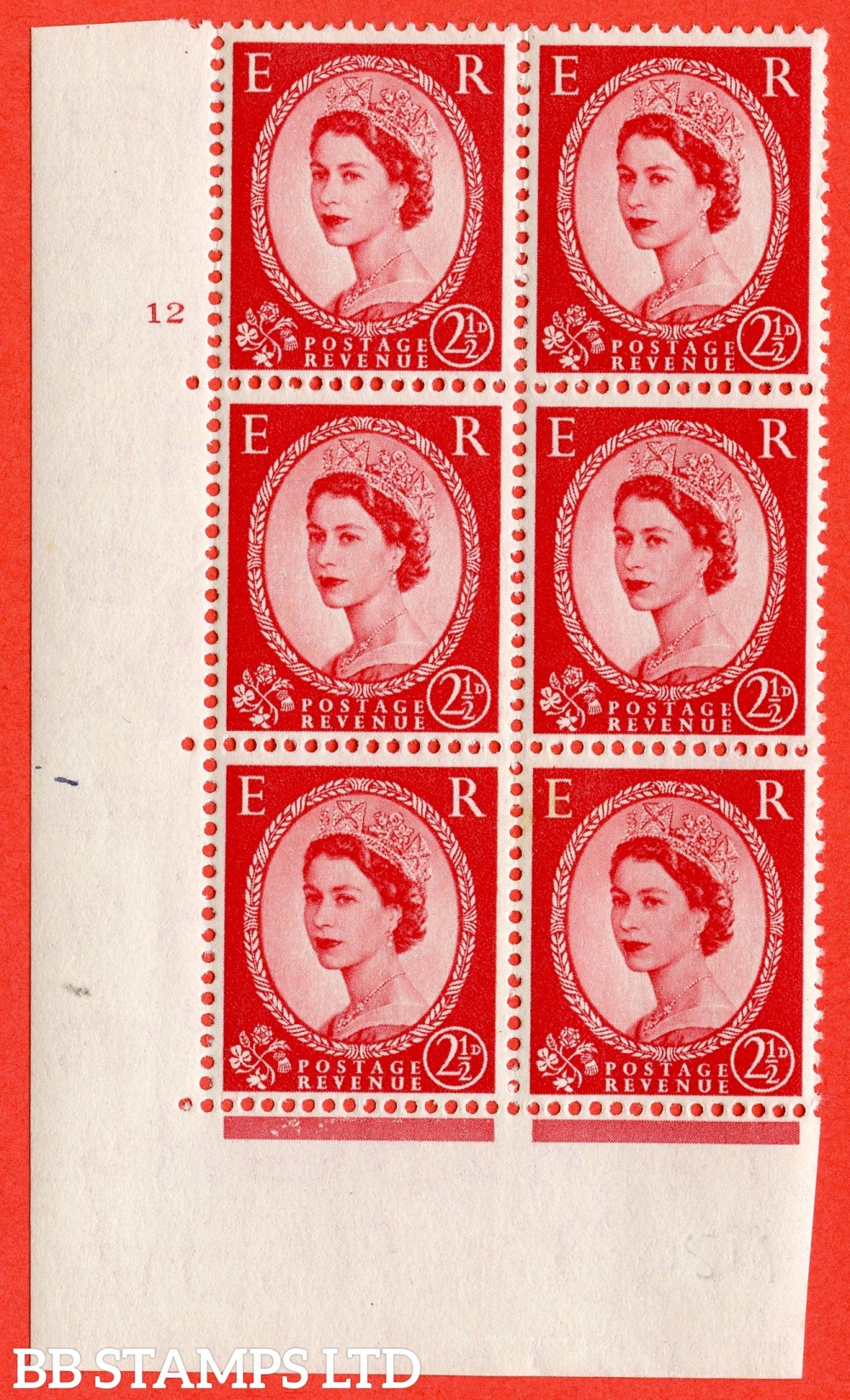 "SG. 519. S50. 2½d Carmine Red. A superb UNMOUNTED MINT "" cylinder 12 no dot "" control block of 6 with perf type A E/I."