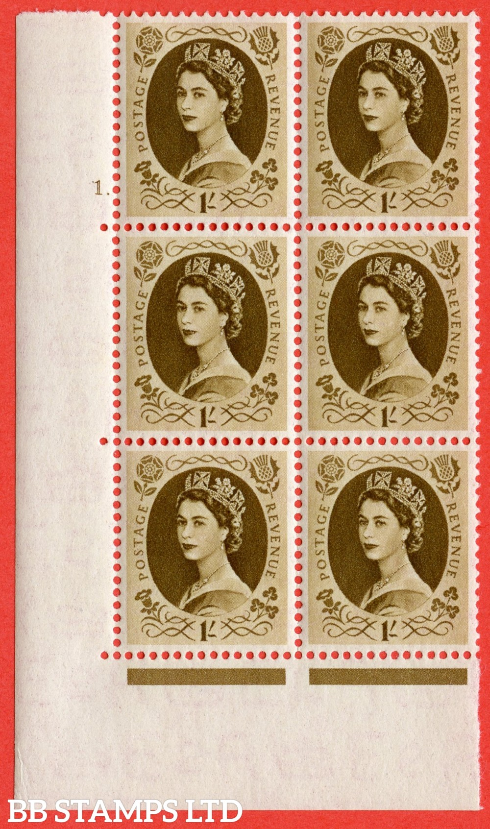 """SG. 529. S136. 1s Bistre-brown. A superb UNMOUNTED MINT """" cylinder 1 dot """" control block of 6 with perf type A E/I."""