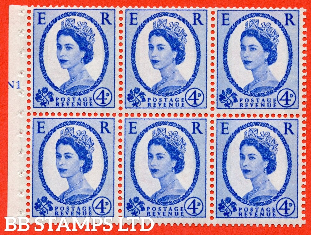 "SG. 616. SB107. 4d Ultramarine. A fine UNMOUNTED MINT cylinder "" N1 T no dot "" booklet pane of 6. Perf type (I) with GOOD PERFS. Smooth edge. White Paper."