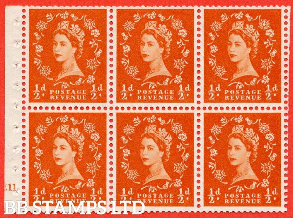 "SG. 570. SB7. ½d orange - red. A fine mounted mint cylinder "" E11 no dot "" booklet pane of 6. Perf type (I) with TRIMMED PERFS. Smooth edge."