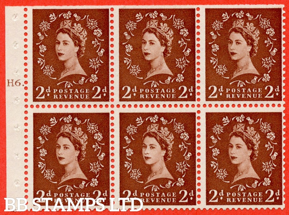 """SG. 543b. SB78. 2d Light red-brown. A fine mounted mint cylinder """" H6 T dot """" booklet pane of 6. Perf type (Ieb) with TRIMMED PERFS. Smooth edge."""
