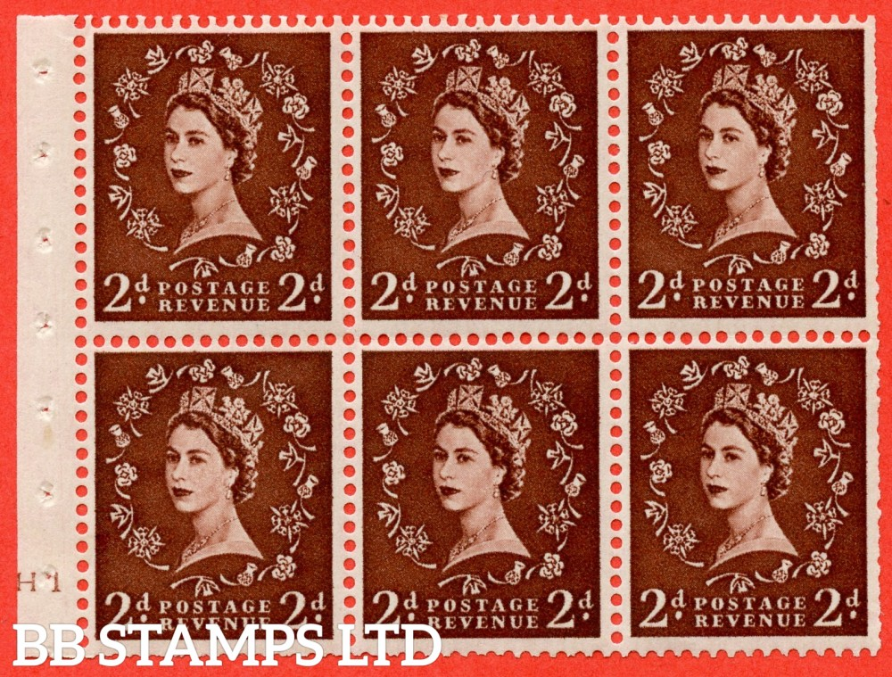 "SG. 543. SB77. 2d red - brown. A fine mounted mint cylinder "" H10 no dot "" booklet pane of 6. Perf type (I) with TRIMMED PERFS. Smooth edge."