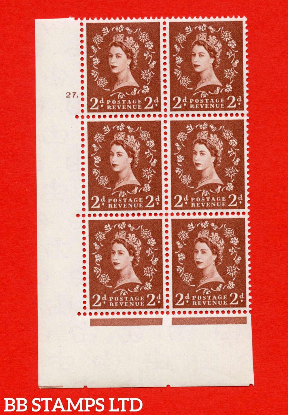 "SG. 573. S40. 2d light red brown . A superb UNMOUNTED MINT "" cylinder 27 no dot "" control block of 6 with perf type A E/I. CREAM paper."