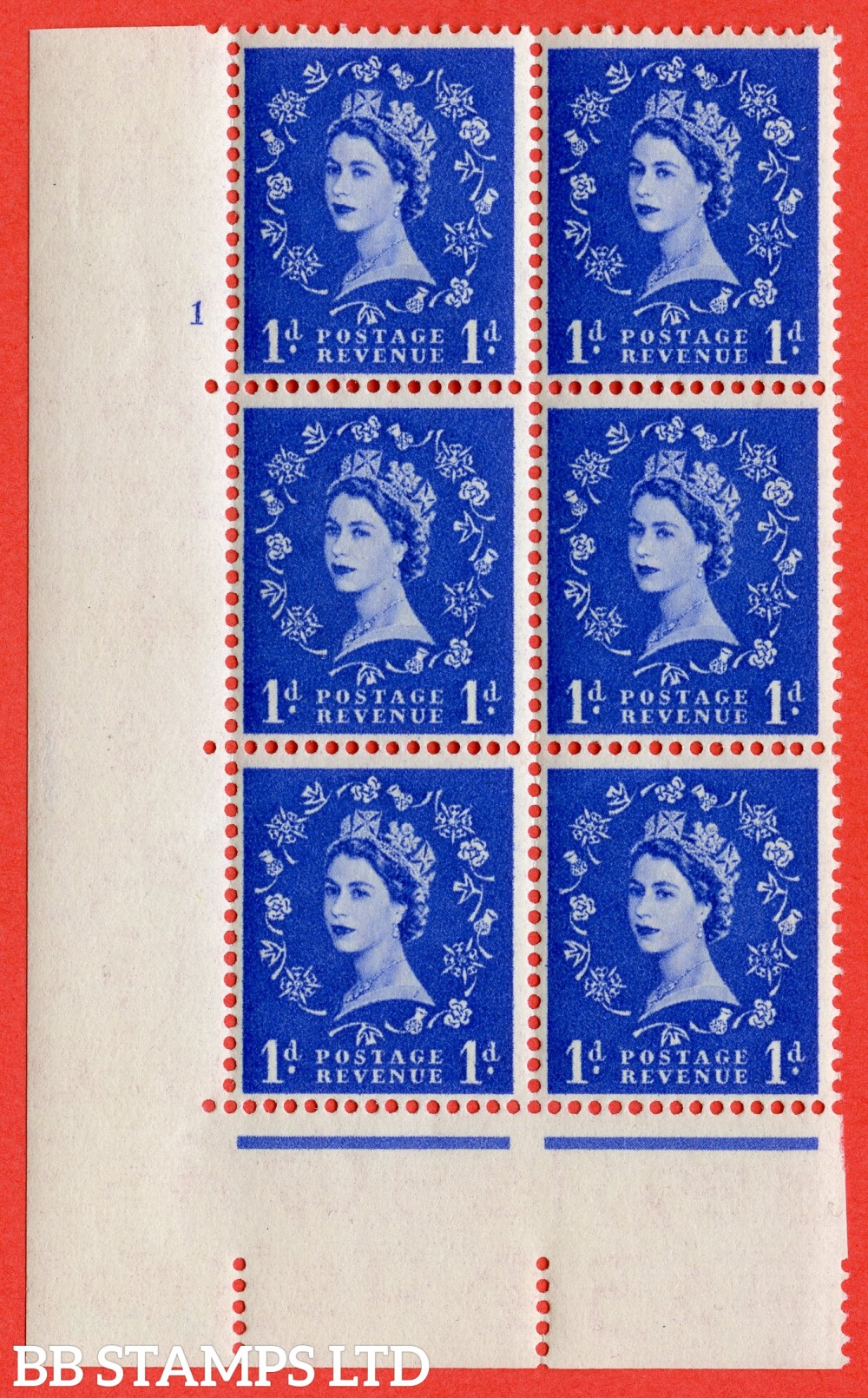"SG. 541. S14. 1d. Ultramarine. A superb UNMOUNTED MINT "" cylinder 1 no dot "" control block of 6 with perf type A E/I"