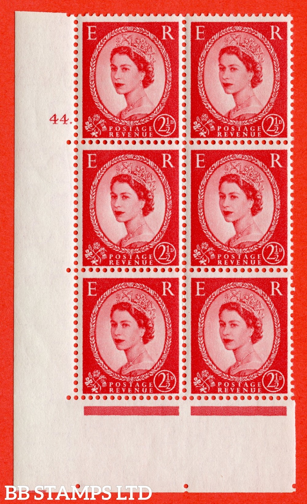 "SG. 544. S52. 2½d. Carmine - Red. A superb UNMOUNTED MINT "" cylinder 44 dot "" control block of 6 with perf type A E/I."