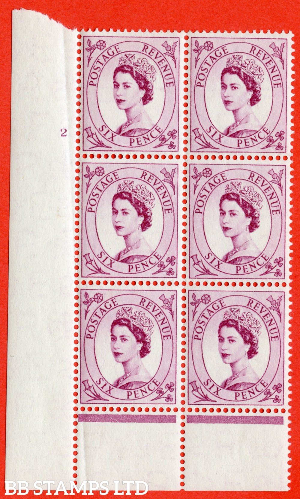 "SG. 548a. S106. 6d. Deep Claret. A fine lightly mounted mint "" cylinder 2 no dot "" control block of 6 with perf type B I/P."