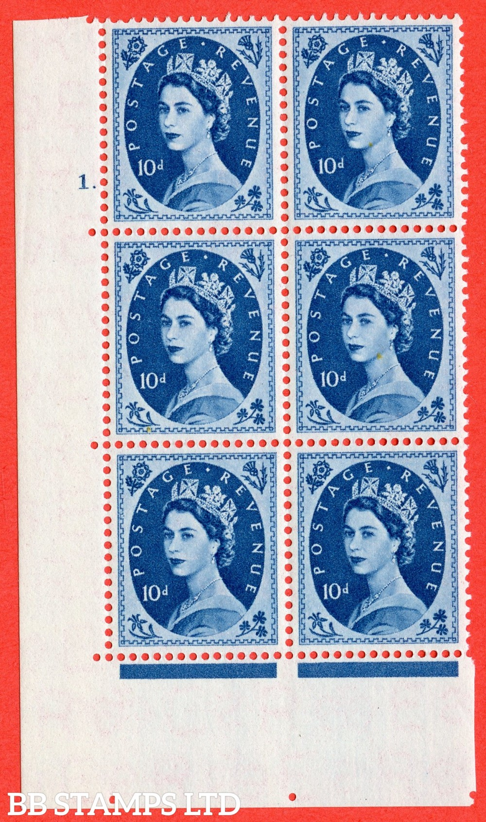 "SG. 552. S130. 10d. Prussian Blue. A superb UNMOUNTED MINT "" cylinder 1 dot "" control block of 6 with perf type A E/I."