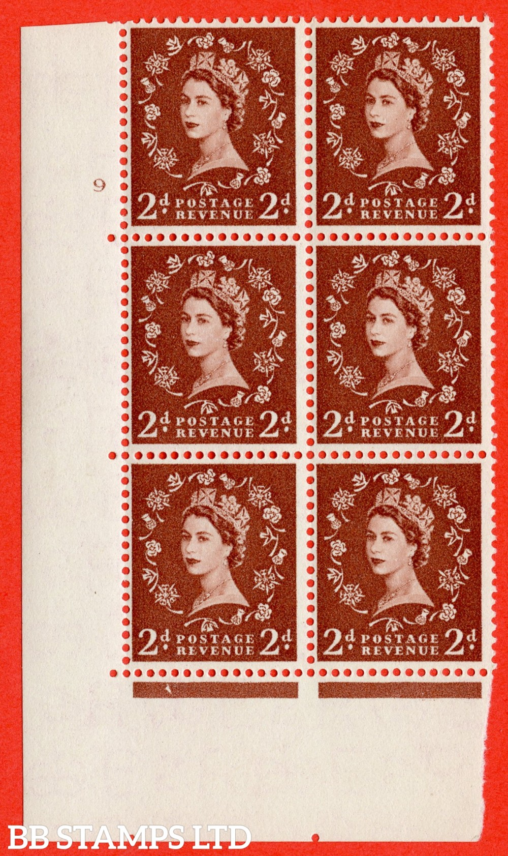 "SG. 543b. S38. 2d. Light Red-brown. A superb UNMOUNTED MINT "" cylinder 9 no dot "" control block of 6 with perf type A E/I."