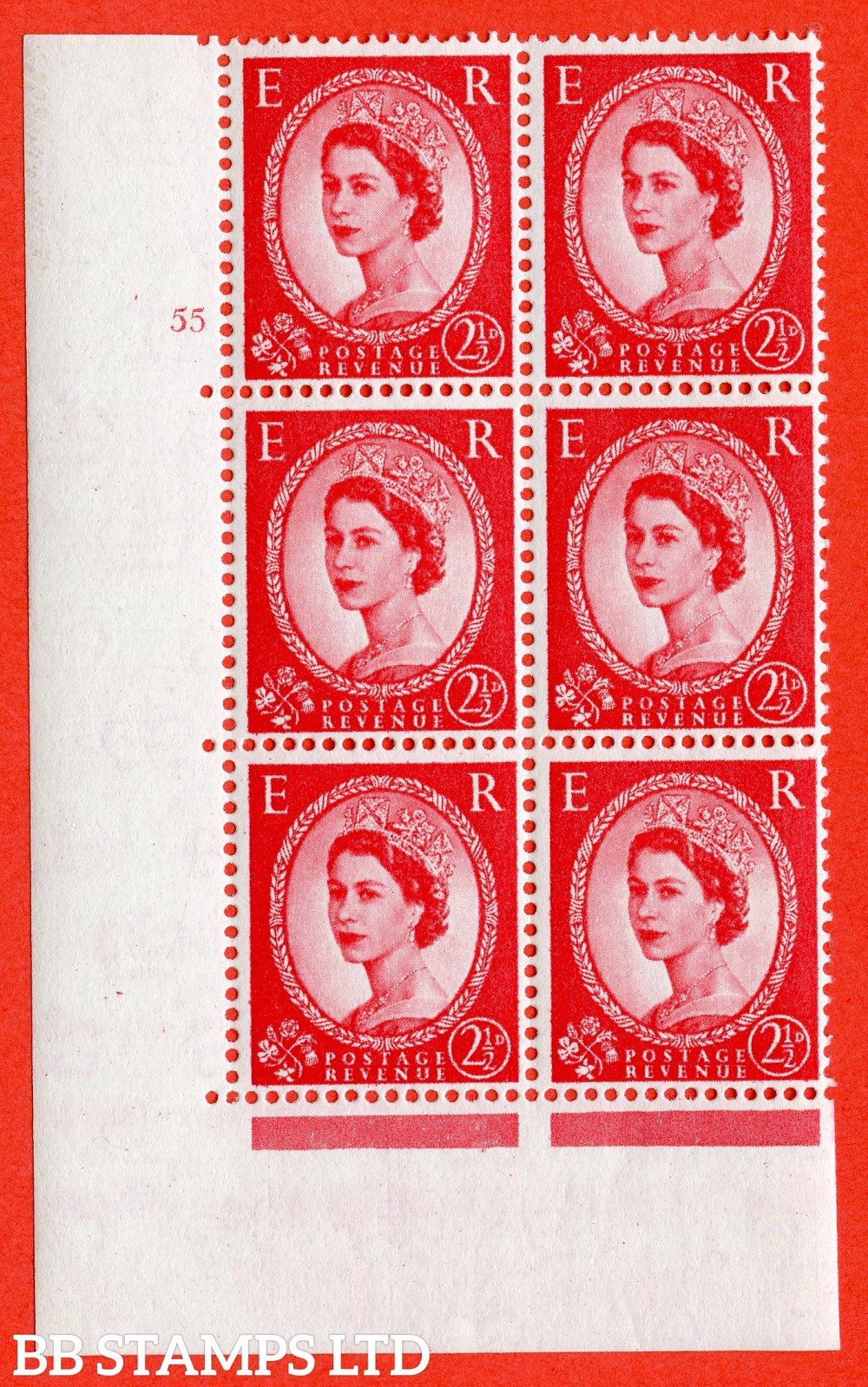 "SG. 574. S57. 2½d Carmine - red.Type II. A superb UNMOUNTED MINT "" cylinder 55 no dot "" control block of 6 with perf type A E/I. WHITE paper."