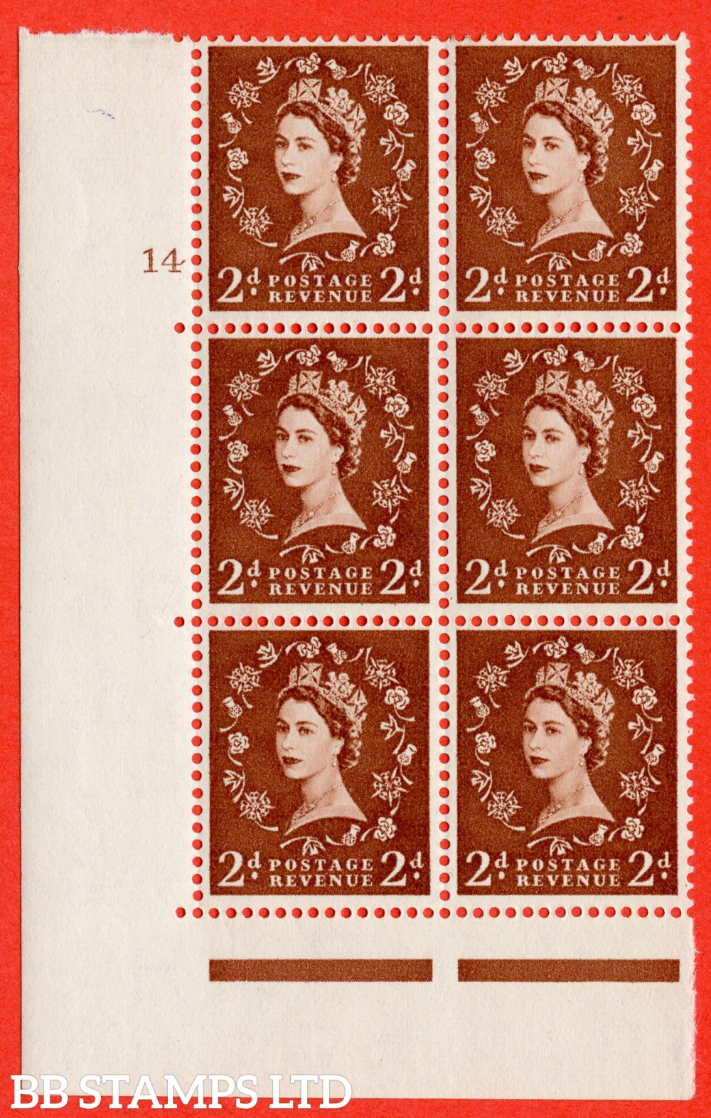 "SG. 543b. S38. 2d. Light Red-brown. A fine lightly mounted mint "" cylinder 14 no dot "" control block of 6 with perf type A E/I."