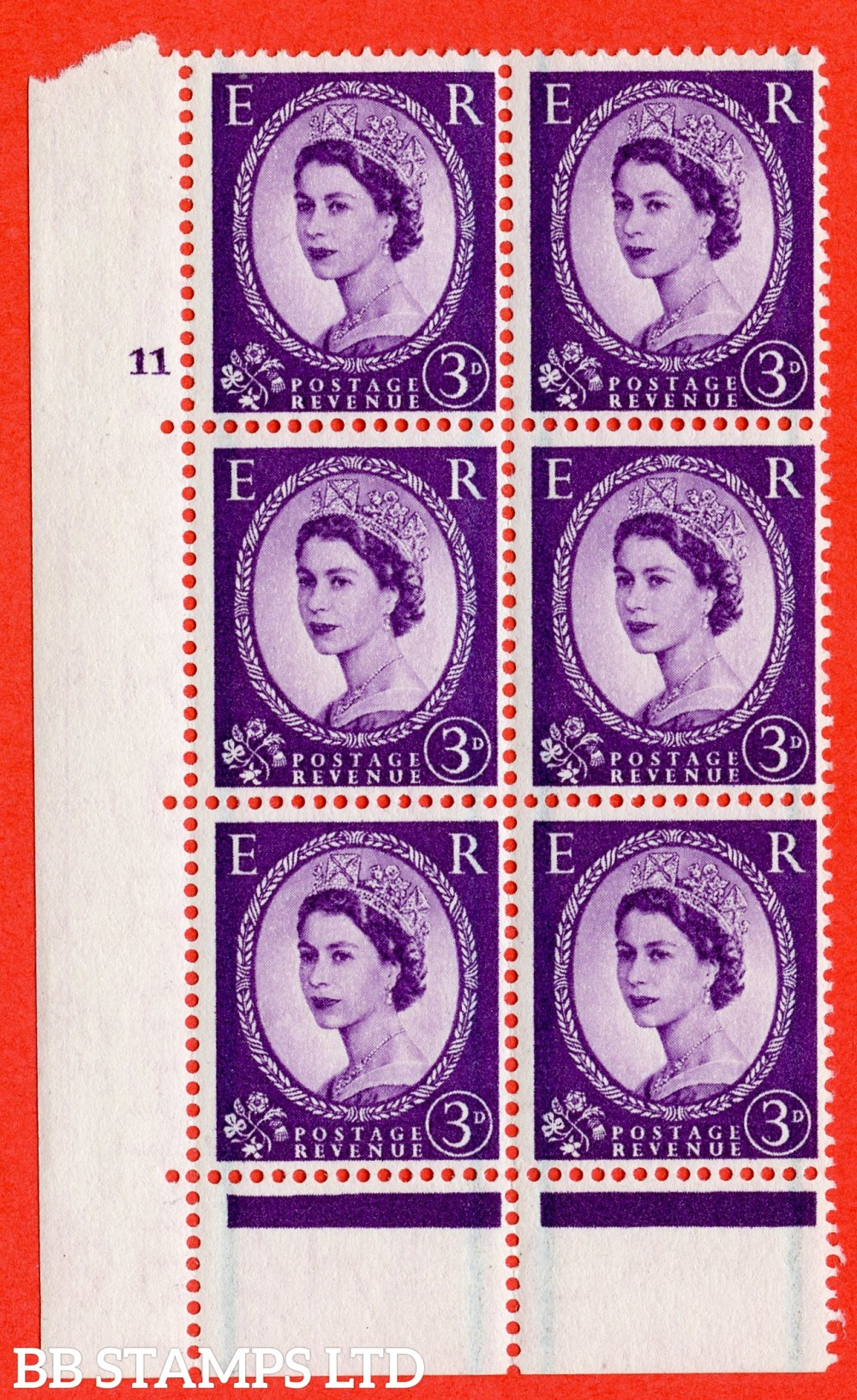 "SG. 566. S69. 3d Deep Lilac. A fine lightly mounted mint "" cylinder 11 no dot "" control block of 6 with perf type C E/P."