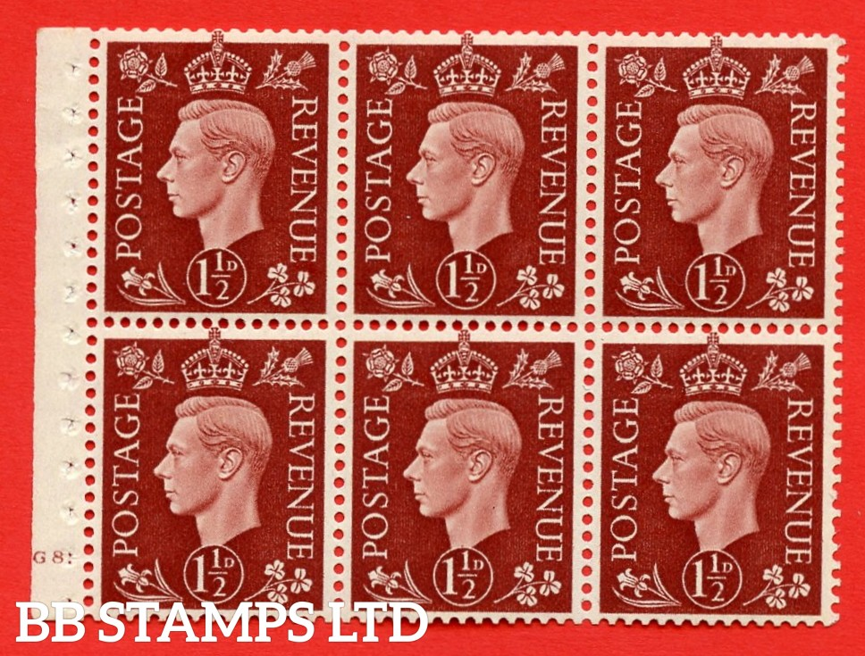 QB21 Perf Type B4A(I) 1½d Red-Brown x 6 Pane, UNMOUNTED MINT Watermark Upright. Cylinder Pane G8 dot ( SG. 464c ) Perf type B4A(I). Good Perfs.