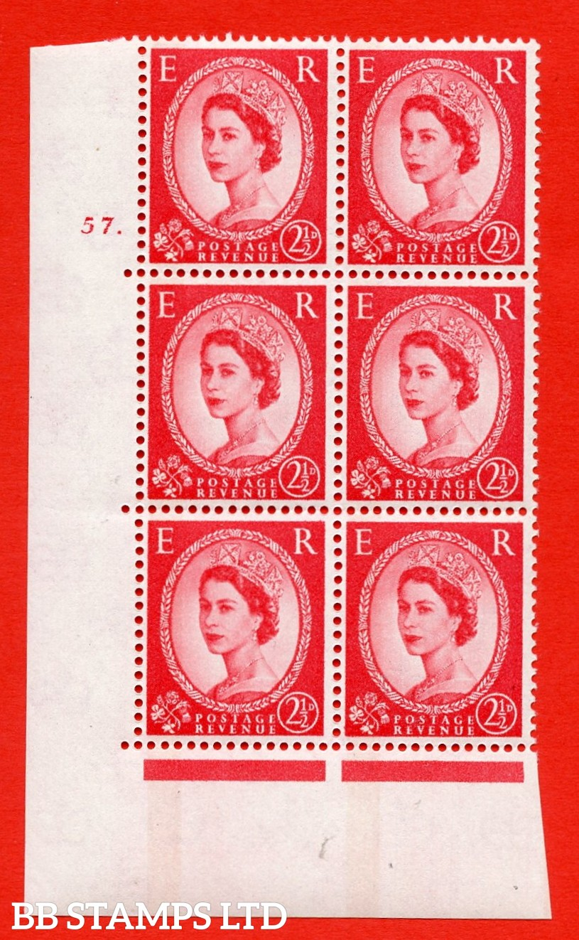 "SG.614a. S65. 2½d Carmine red. LB Photo. A superb UNMOUNTED MINT "" cylinder 57 dot "" control block of 6 with perf type A (E/I). Blue Phosphor White paper"